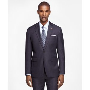 Men's Extra Slim Fit SaxXon Wool Grey Striped 1818 Suit | Brooks Brothers