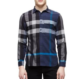 Burberry Brit Long-Sleeve Exploded Check Sport Shirt, Blue @ Neiman Marcus