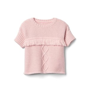 Shimmer cable knit fringe sweater. | Gap