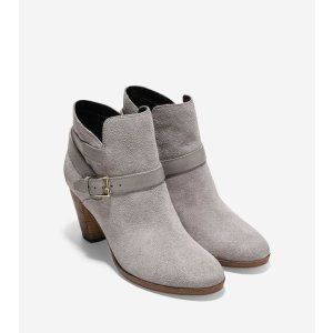 Hayes Strap Booties 75mm in Ironstone Suede | Cole Haan