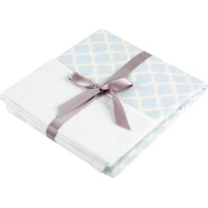 Ben and Noa Reversible Flannel Crib Blanket, Blue Lattice
