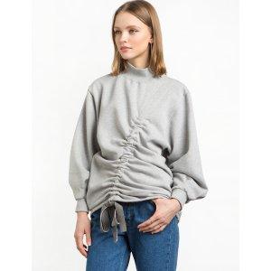 Grey Front Ruched Sweatshirt