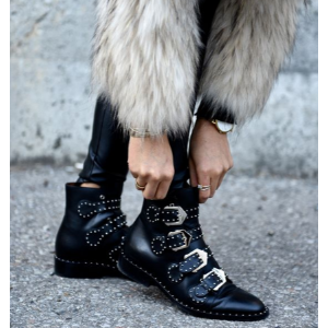 Givenchy Elegant Studded Leather Ankle Boots in Black | FWRD
