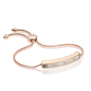 Baja Bracelet in 18ct Rose Gold Vermeil on Sterling Silver with Grey Agate | Jewellery by Monica Vinader