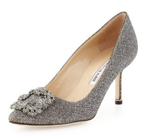 Extended 1 Day! $150/$300 Gift Card! with Manolo Blahnik Hangisi Glitter Fabric 70mm Pump purchase
