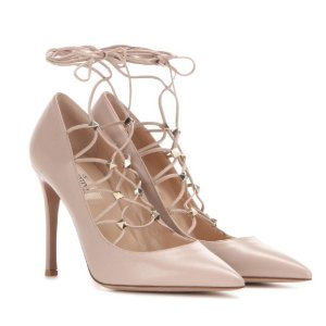 VALENTINO Rockstud leather lace-up pumps