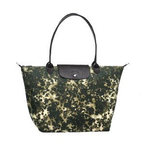 Le Pliage Neo Fantaisie Large Shoulder Tote in Khaki | Longchamp