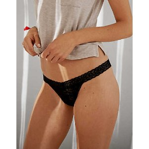 Aerie Everyday Loves Lace String Thong, True Black | Aerie for American Eagle