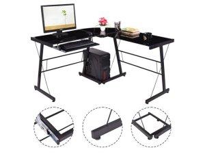 $69.95GoPlus L-Shape Computer Desk PC Laptop Table Glass Top Workstation Corner Home Office