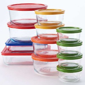 2016 Black Friday! $25.49+$10MIR Pyrex 20-pc and 24-pc Storage Set with Color Lids