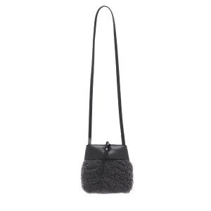 GREY SHEARLING NANO TIE CROSSBODY BAG
