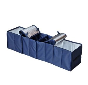 Lightning deal! $15.25 Autoark Navy Blue Foldable Multi Compartment Fabric Car Truck Van SUV Storage Basket Trunk Organizer and Cooler Set
