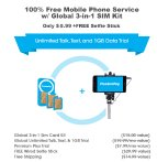 $0.99 FreedomPop 100% Free Mobile Phone Service with Global 3-in-1 SIM Kit