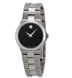 MOVADO Black Dial Stainless Steel Ladies Watch 0606558