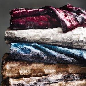 Faux Fur Offset Stripe Throws | west elm