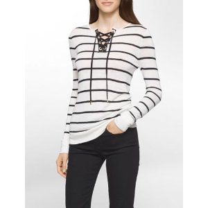 striped lace-up sweater