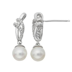 Simply Vera Vera Wang Sterling Silver Freshwater Cultured Pearl and Diamond Accent Drop Earrings