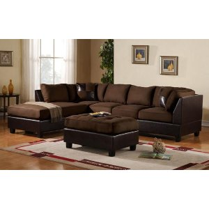 Modern 3 Piece Brown Faux Leather Sectional - Sofamania