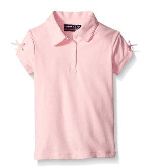 $9.24 Nautica Girls' Uniform Short Sleeve Polo with Bow At Sleeve