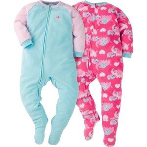 Gerber Toddler Girl Blanket Sleeper, 2-pack, 2T-5T