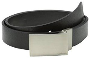 Calvin Klein Men's 32mm Reversible Flat Strap Plaque Buckle With Logo Belt