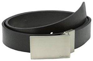 Calvin Klein Men's 32mm Reversible Flat Strap Plaque Buckle With Logo Belt