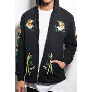 Reason Embroidered Zip Hoodie