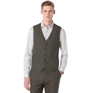 Corded Twill Stripe 5 Button Suit Vest