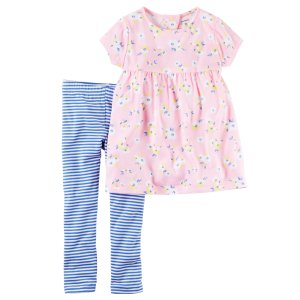 Baby Girl 2-Piece Babydoll Top & Striped Legging Set | Carters.com