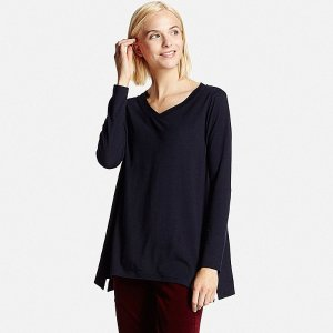 WOMEN DRAPE V-NECK LONG SLEEVE LONG T-SHIRT