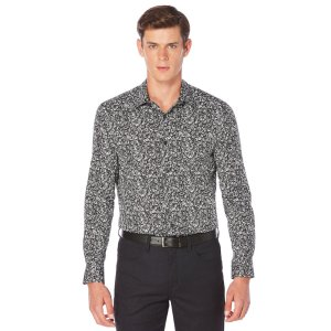 Long Sleeve Rose Print Shirt | Perry Ellis