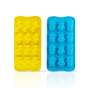 Deik 2 pieces Premium Silicone Molds for Candy, Chocolate, Ice Cube, Baking, Building of Cute Robots and Dinosaur