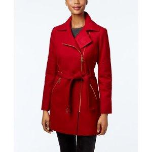 MICHAEL Michael Kors Asymmetrical-Zip Walker Coat - Coats - Women - Macy's