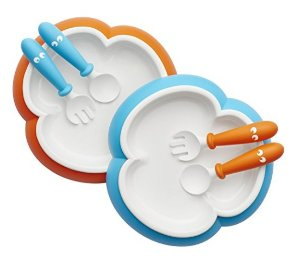 $17.09 BABYBJORN Baby Plate, Spoon and Fork - Orange/Turquoise, 2-pack