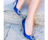 Manolo Blahnik Hangisi Crystal-Buckle Satin 70mm Pump, Cobalt