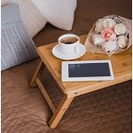 Francois et Mimi Bamboo Multi-Position Adjustable Serving Bed Tray with Drawer