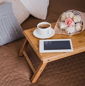 $19.95 Francois et Mimi Bamboo Multi-Position Adjustable Serving Bed Tray with Drawer
