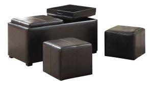 Simpli Home Avalon 3-Piece Rectangular Storage Ottoman w/ 2 Serving Trays & 2 Small Ottomans, PU Leather, Brown by Simpli Home