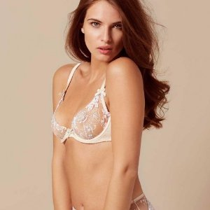 Odette Peach and Blue Bra   by Agent Provocateur