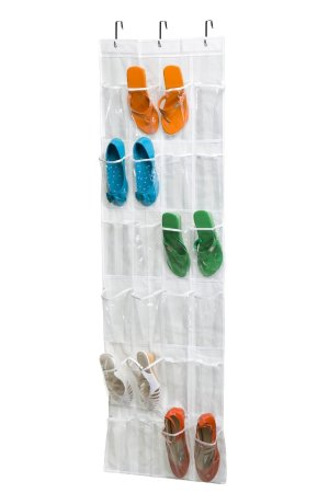 Wander Agio 24-pocket Sundries Phone Towel Organizers Over-the-door Shoe Organizer White Vinyl