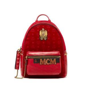 Medium Stark Velvet Insignia Backpack in Ruby Red
