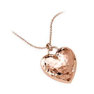 Hammered Heart Pendant in 14k Rose Gold | Blue Nile