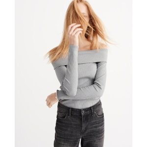 Womens Off-The-Shoulder Ribbed Top