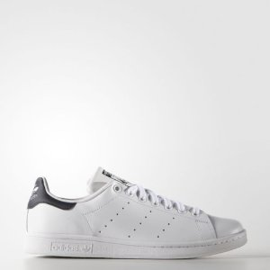 adidas Originals Men's Stan Smith Leather White/Navy Athletic Sneakers | eBay