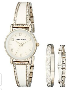 $49.99 Anne Klein Women's AK/2052IVST Swarovski Crystal Stainless Steel Watch Set