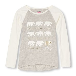 Girls Long Raglan Sleeve Embellished Graphic Hi-Low Top   The Children's Place