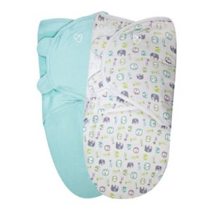 SwaddleMe Original Organic Swaddle 2-PK, Elephant Pebble (LG)@ Amazon
