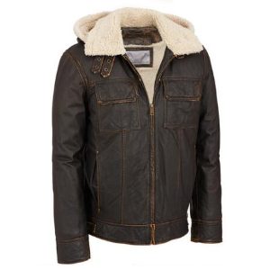 Wilsons Leather Vintage Leather Bomber Jacket w/ Faux-Shearling - View All Men's - Clearance - Wilsons Leather