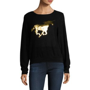 Wildfox Golden Unicorn Baggy Beach Sweater