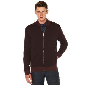 Herringbone Full Zip Jacket | Perry Ellis